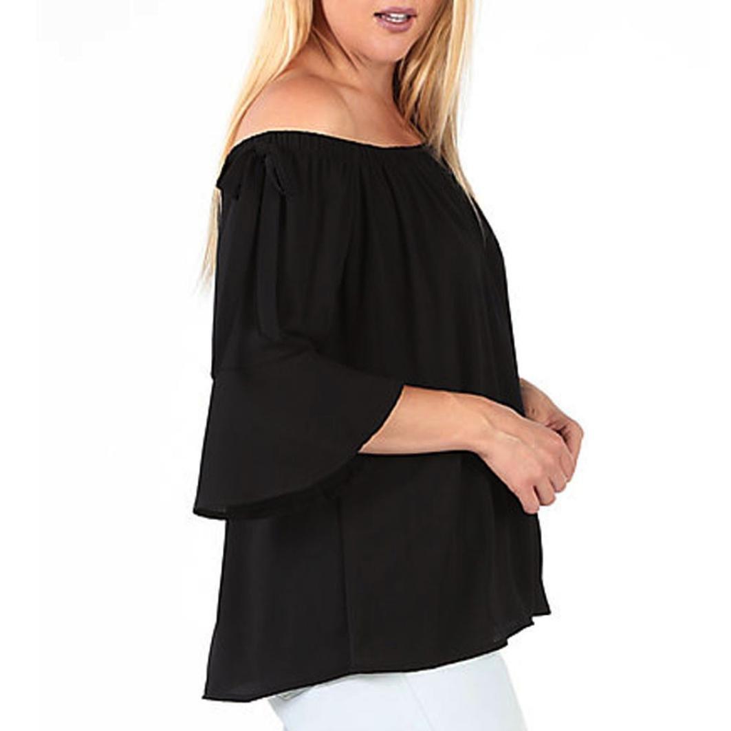 FANOUD Plus Size Womens Fashion Blouse Off Shoulder Tops (XL)