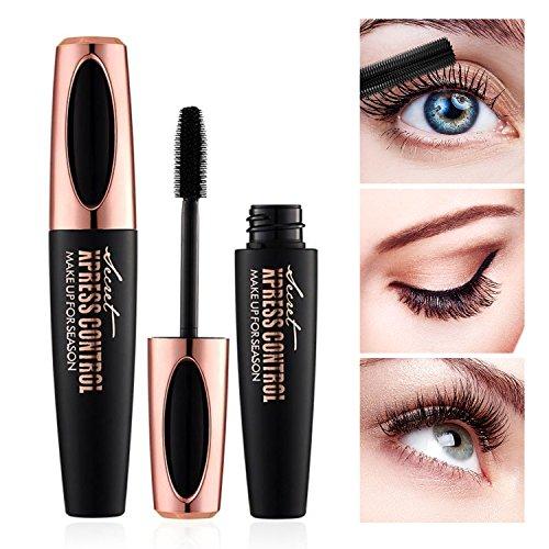 4D Silk Fiber Lash Mascara - Waterproof Makeup Eyelash Extension Mascara Cream - Crazy Long Washable Mascara - Best for Thickening & Lengthening - Paraben-Free Natural & Non-Toxic Ingredients