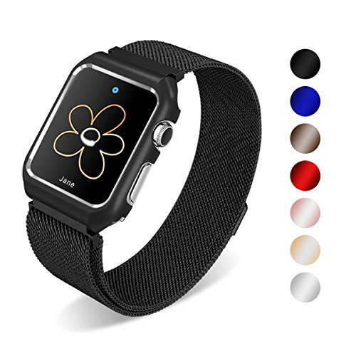 SUNKONG Milanese Loop for Apple Watch Band 38mm Black with Stainless Steel Case for Apple Watch Series 3 2 1