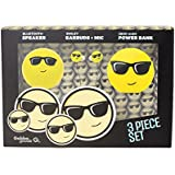 GabbaGoods 3 Piece Sunglasses Emoticon Kids Electronics Combo Gift Set- Gabba Goods Bluetooth Wireless Audio Sound Speaker, In-Ear Emoji EarBuds with Mic, and a 2600 mAh Portable Charging Power Bank