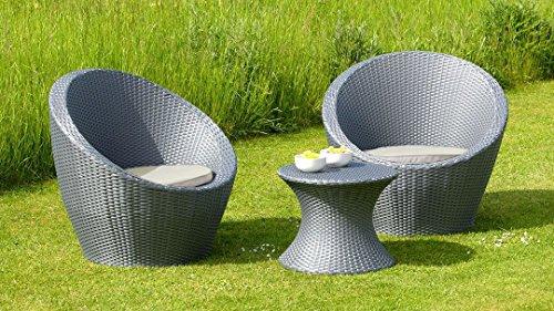 Muro 3 Piece Rattan Egg Set Bistro Garden Furniture Set - Grey