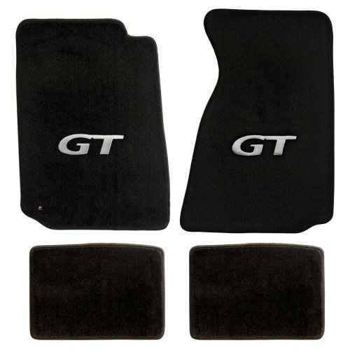 (Fits 1994 to 2004 Ford Mustang black heavy plush Front and Rear floor mats with GT Logo)