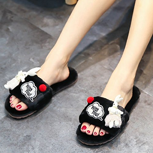 GIY Womens Winter Warm Slippers Cute Rabbit Fur Indoor Slippers For Women Cozy Non-slip House Slippers Black N5QIkvo4
