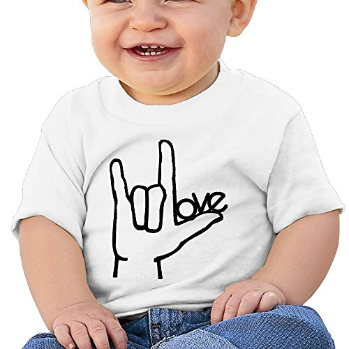 Chengrangst I Love You ASL Handshape Sign Language Toddler/Infant Short Sleeve Cotton T Shirts White 24 Months