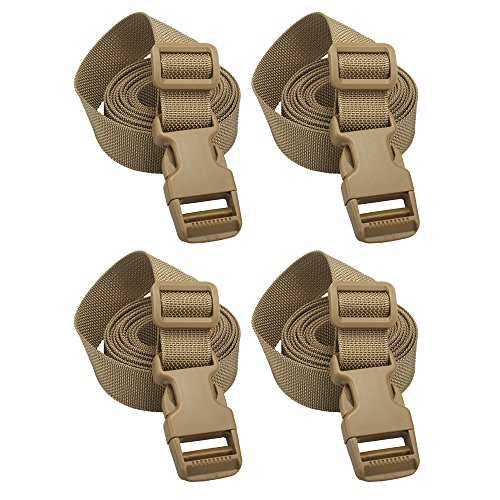 (XTACER Backpack Accessory Strap Luggage Straps Cover Strap Sleeping Bag Strap with Buckle (TAN - Release Buckle Straps (4-Pack)))