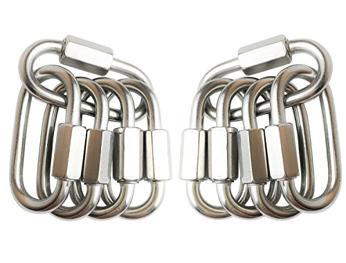TXXMA 10-Pack D Shape Locking Carabiner M4 Stainless Steel Quick Link Chain Connector Keychain Ring Buckle by TXXMA