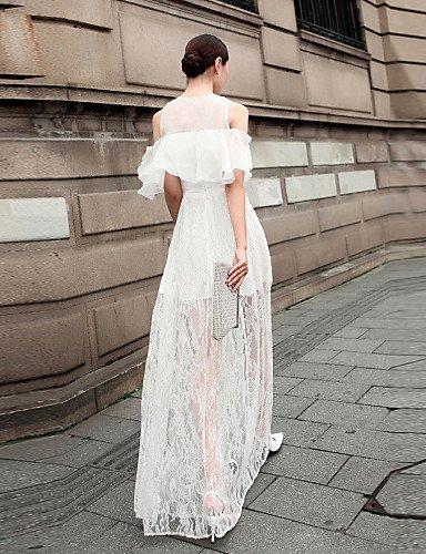 PU&PU Robe Aux femmes Soirée Col Arrondi Maxi Mousseline de soie / Dentelle , white-m , white-m