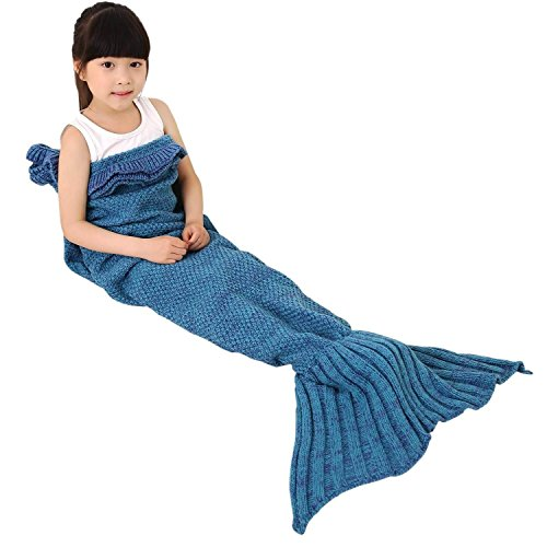 Kpblis Warm and Soft Mermaid Tail Blanket diffenrent Colors Mermaid Blanket for Kids and Adult(Blue 56'28')