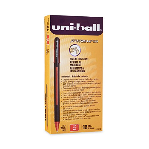 Uni-Ball Jetstream 101 Ball Point Pens, Bold Point, Red Ink, 12 Count