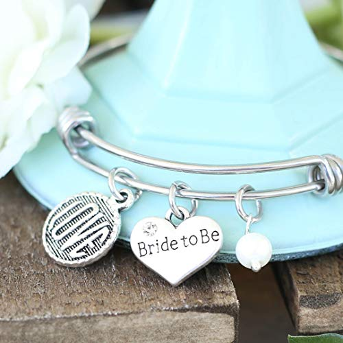 Engaged, Bride to Be Love Expandable Bangle Bracelet, Engagement Gift ()