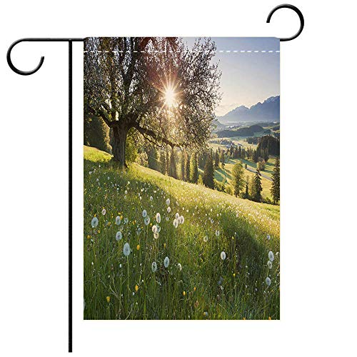 BEICICI Artistically Designed Yard Flags, Double Sided Backlight View Through Apple Tree Summer Meadow in Bavaria Germany Decorative Deck, Patio, Porch, Balcony Backyard, Garden or Lawn