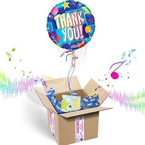 THANK YOU INFLATED HELIUM BALLOON APPRECIATION GIFT PACKAGE | Includes Coordinating Customizable Greeting Card | Floats out of the Box and Plays a Happy Jingle When Opened]()