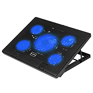 "Kootek Laptop Cooling Pad 12""-17"" Cooler Pad Chill Mat 5 Quiet Fans LED Lights and 2 USB 2.0 Ports Adjustable Mounts Laptop Stand Height Angle"