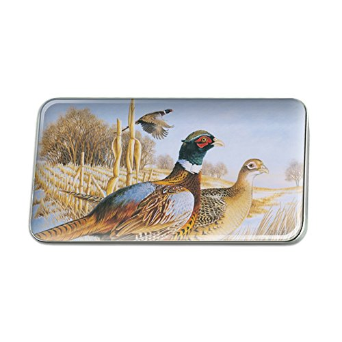GRAPHICS & MORE Pheasants in The Snowy Farm Field Metal Rectangle Lapel Hat Pin Tie Tack Pinback