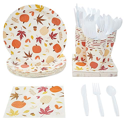 Fall Themed Paper Plates (Juvale Thanksgiving Party Supplies (Serves 24), Plates, Napkins, Cups,)