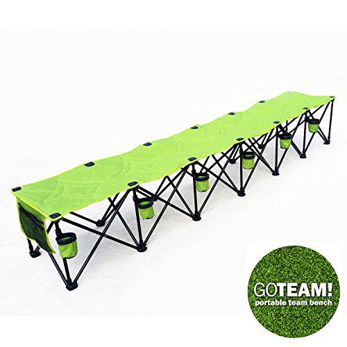 (GoTEAM! 6 Seat Portable Folding Team Bench - Green)