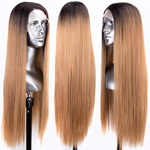 - Persephone Glueless L Part Blonde Lace Front Wigs Ombre with Dark Roots Straight Synthetic Wig Long with Side Part Ombre Honey Blonde Lace Wigs for Women 24 Inches