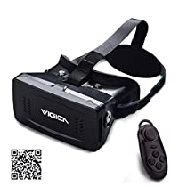 VIGICA Virtual Reality Headset 3d Video VR Glasses Head Mount Plastic Version for 3D Movies Games 3.5-6 inch phone with Bluetooth Wireless Mouse Gamepad for Google Cardboard