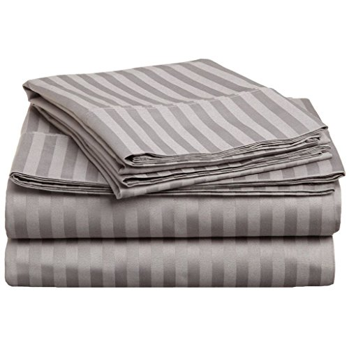 Superior 300 Thread Count 100% Premium Combed Cotton, 4-Piece Bed Sheet Set, Deep Pocket, Single Ply, Sateen Stripe, Queen - - Grey Single Stripe