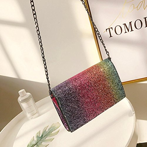 Night Out Party Girl Club Fashion Leather Gift Bag with Crossbody Women Bag Sequins Shoulder Red Bag Bling 1wq7TO