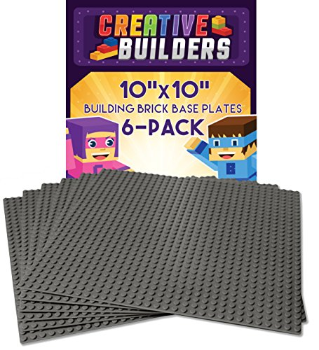 Creative Builders, Set of 6 Grey Baseplates, LEGO Compatible, Extra Large 10X10 - Epic Team Duo