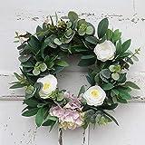 Heayoup Fashion Round Wreath Lifelike Artificial Garland Flowers Door Hanging Wall Window Decoration-30 White
