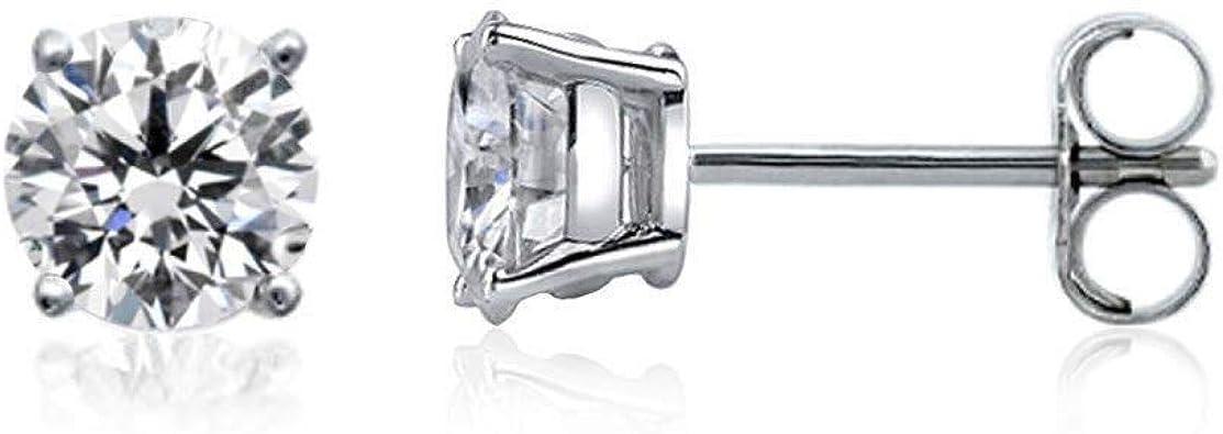 4-Prong Basket Screw-Back 0.08cttw, White, SI1-SI2 Diamond Wish 10k Gold Round SINGLE Diamond Stud Earring