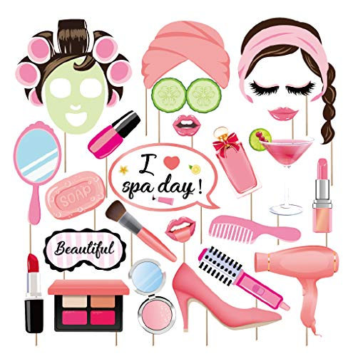 Themes For Little Girl Birthday Parties (Kristin Paradise 25Pcs Spa Day Photo Booth Props with Stick, Makeup Selfie Props, Make Up First Birthday Party Supplies, Nail Girl Theme Backdrop)
