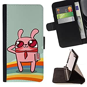 DEVIL CASE - FOR Apple Iphone 4 / 4S - Cute Rainbow Bunny Rabbit - Style PU Leather Case Wallet Flip Stand Flap Closure Cover