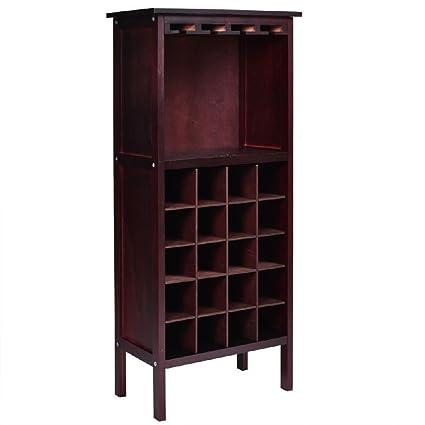 Wood Wine Cabinet Storage Home Dr Liquor Bar Glass Rack Bottle Holder