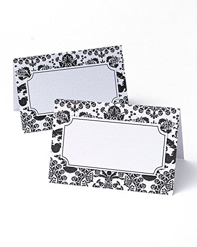 BRIDES Black & White Damask Place Cards