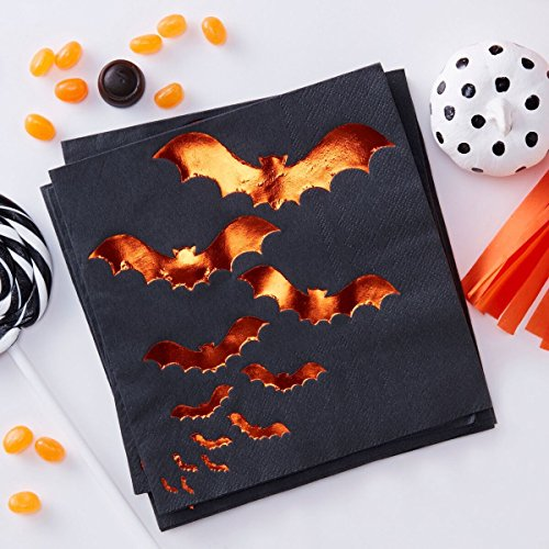 Halloween Decorations Paper Napkins Halloween Party Ideas Fall Décor Orange Foil Bat 6.5