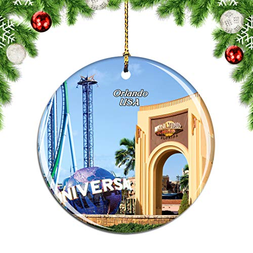 Weekino USA America Universal Studios Florida Orlando Christmas Xmas Tree Ornament Decoration Hanging Pendant Decor City Travel Souvenir Collection Double Sided Porcelain 2.85 Inch