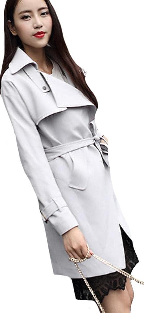 beac4788ebbe Amazon.com  MLG Women Jacket Long Sleeve Casual Slim Fashion Trench Coat  Grey US L  Clothing