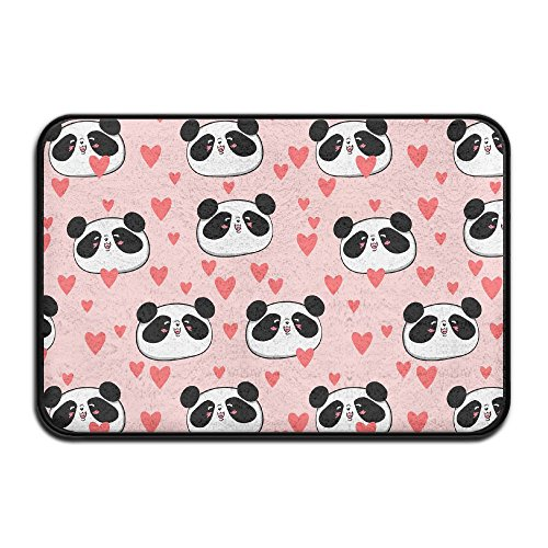 HOMESTORES Pink Animal Panda Love Heart Patterns Bath Mat - Memory Foam Shower Spa Rug Bathroom Kitchen Floor Carpet Home Decor With Non Slip Backing17x24 Inch by HOMESTORES