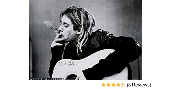 Kurt Cobain (Smoking) With Guitar Black & White Music Poster 36 x 24in