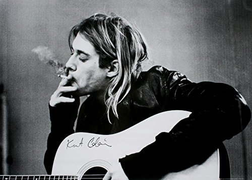 Kurt Cobain Smoking With Guitar Black & White Music Poster
