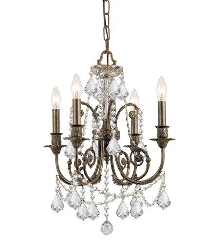 (Mini Chandeliers 4 Light With English Bronze Clear Swarovski Strass Crystal Wrought Iron 18 inch 240 Watts - World of Lighting )