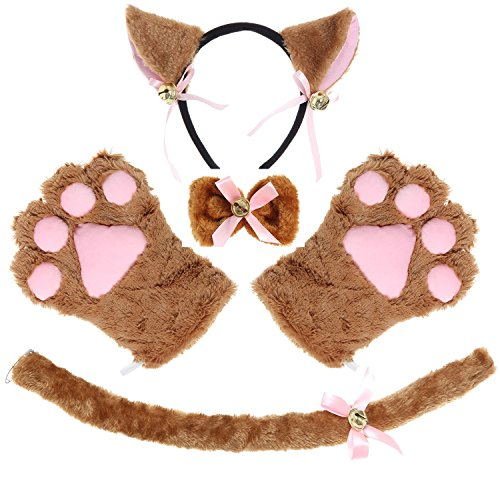 Cat Costume Cosplay Kitten Tail Ear Hairclip Collar Paws Gloves Anime Lolita Gothic Set (Brown) (Make Cat Tail Halloween Costume)