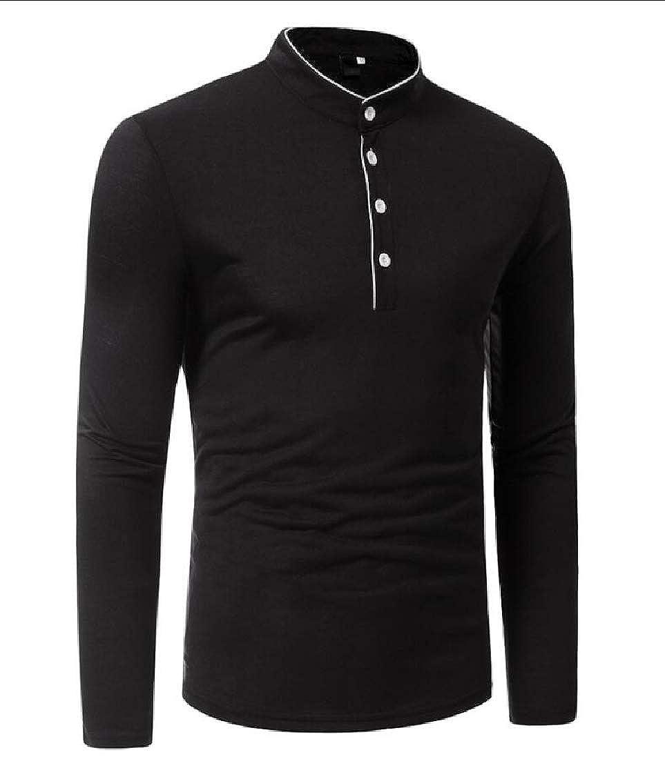 Unko Men Polo Shirt Long Sleeve Casual Classic Fit Cotton T Shirts