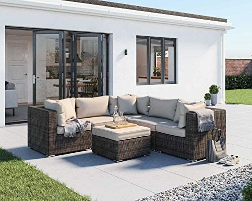 Wicker Patio Furniture Conversation Set 6Pcs No Assembly Outdoor Sectional Sofa All Weather Aluminum L Shape Couch Deck Rattan Furniture w/Free Waterproof Cover Clips Toss Pillow