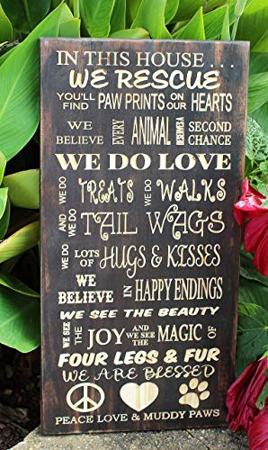 Personalized Dog Rescue Carved Wood Sign Handmade in the USA ()