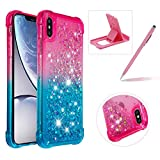 Liquid Clear Case for iPhone Xs,Soft TPU Cover for iPhone X,Herzzer Luxury Creative Pink Blue Gradient Color Love Hearts Quicksand Flexible Crystal Case