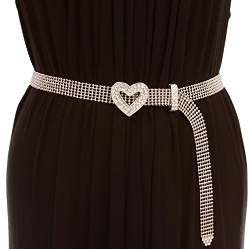 """3/4"""" Rhinestone Open Heart Metal Ball Chain Belt, silver w/clear stone 