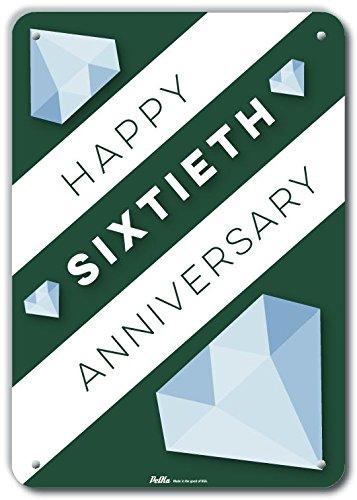10 x 14 Petka Signs and Graphics PKWA-0043-NA/_10x14Happy Sixtieth Anniversary Aluminum Sign
