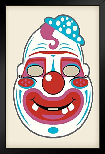 Creepy Clown Vintage Mask Decoration or Halloween Costume Cutout Framed Poster 14x20 inch -