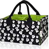 Baby Diaper Caddy Organizer – Large, Excellent for All Diaper Sizes, Wipes, Nursery Storage Bins, Baby Travel, Changing Tables and Toys - Exclusive Baby Shower Basket (Black and White)