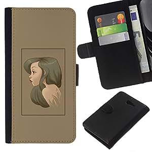 NEECELL GIFT forCITY // Billetera de cuero Caso Cubierta de protección Carcasa / Leather Wallet Case for Sony Xperia M2 // Brunette Retrato