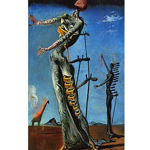 (SAVA 61228 The Burning Giraffe by Salvador Dali Surrealism Decor Wall 36x24 Poster Print)