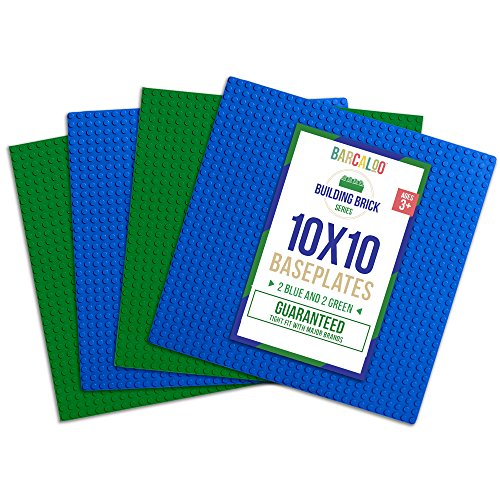 10 Inch x 10 Inch Baseplate for Building Bricks - 4 Pack (2 Blue, 2 Green) Classic Baseplates Compatible with All Major Brands